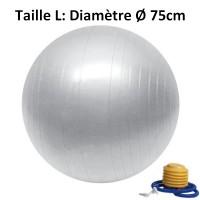 Ballon de Yoga Argent - Taille L 75 cm